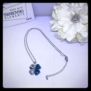 Swarovski Elements Jewelry - Beautiful Blue 4 Hearts Necklace [JW-12]